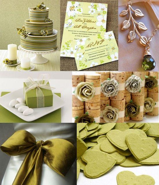 Оливковая свадьба:  зеленый+золото+белый