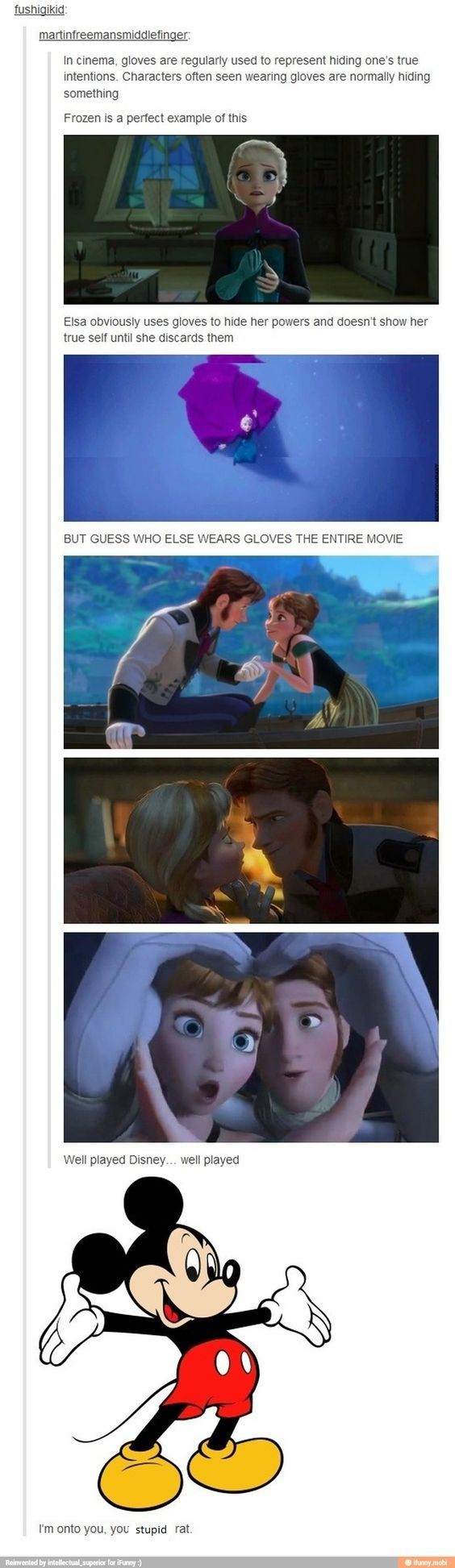also, hans removes his gloves when revealing his plan to ana