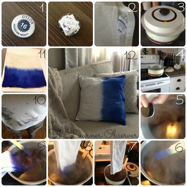 Dip-dye blue pillow