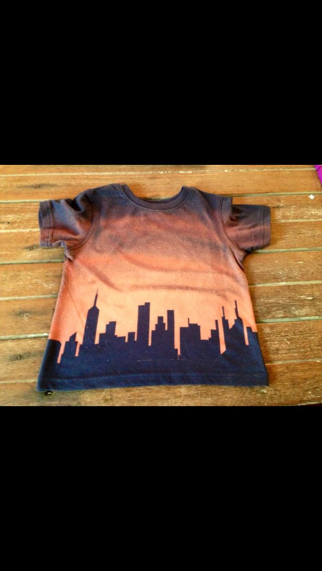 Bleached T-Shirt - with silhouette skyline design