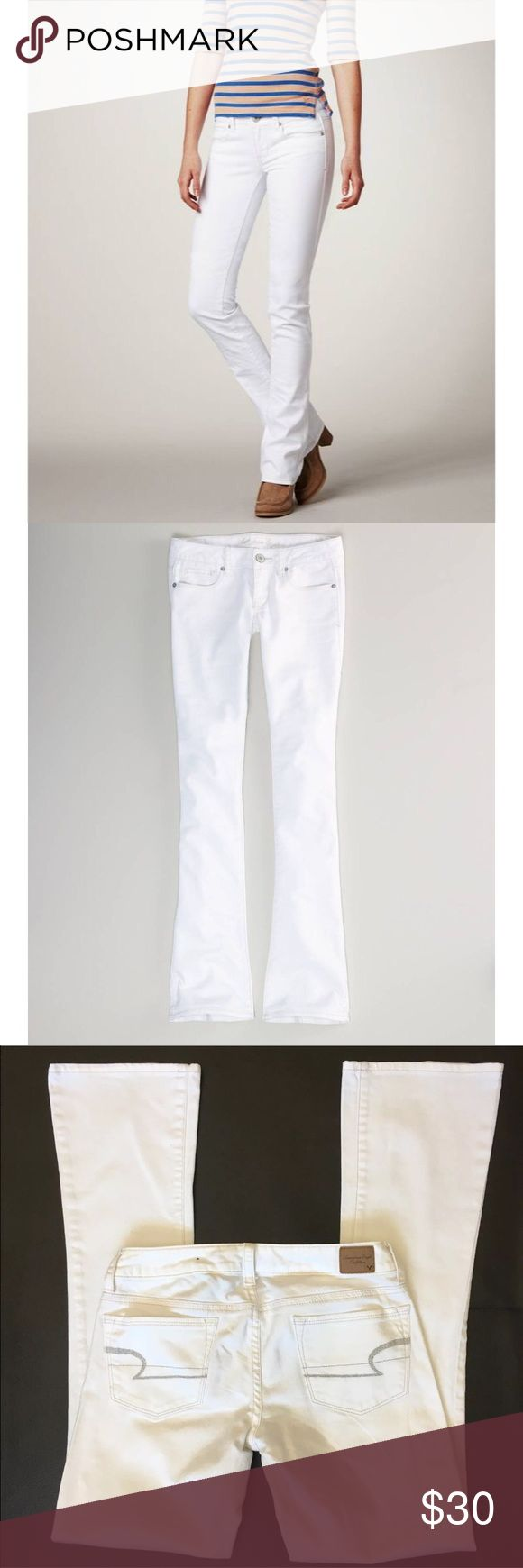 NWT American eagle skinny kick jeans Brand new With tags American eagle skinny kick white jeans size 4 short. Stretch. Line across tag to avoid store returns. American Eagle Outfitters Pants