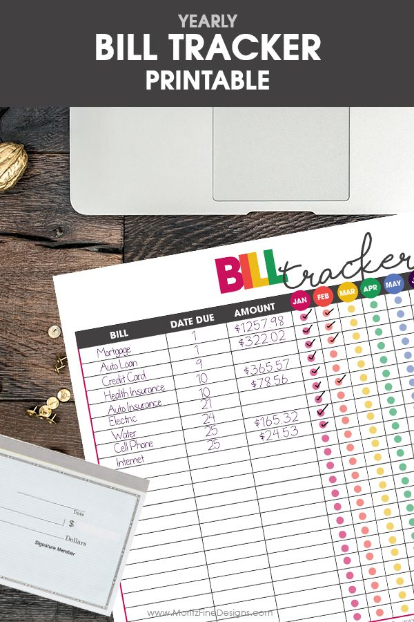 free printable bill tracker | financial organizer | money tracker | get life organized | financial freedom