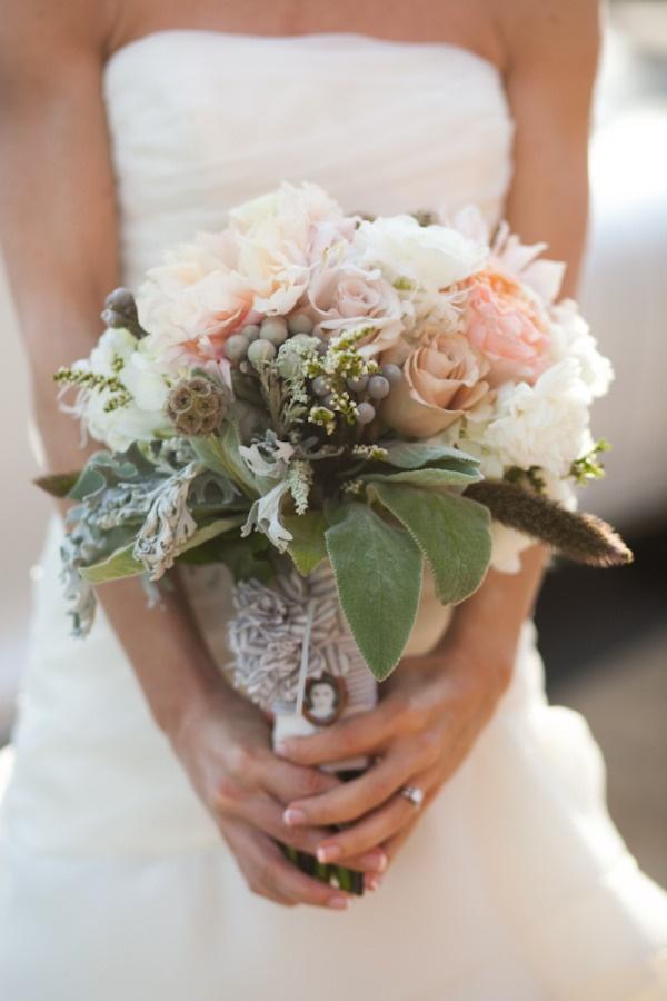 pastel blooms wrapped in seersucker