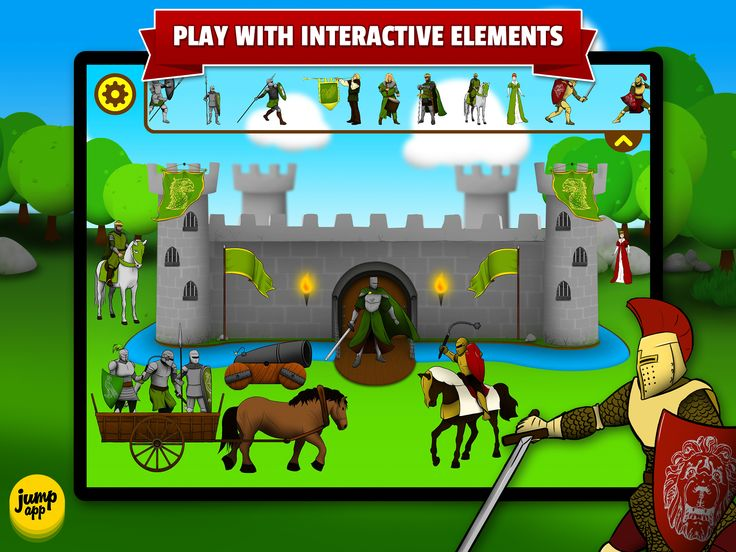 115 different knights and items with animations and sounds to drag on the scenes https://itunes.apple.com/us/app/sticker-play-knights-dragons/id836195612