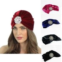 Wish | Fashion Women Stretchy Velvet Turban Head Wrap Band Chemo Bandana Hijab Pleated Indian Cap Turbante Hat NXH2887/y1