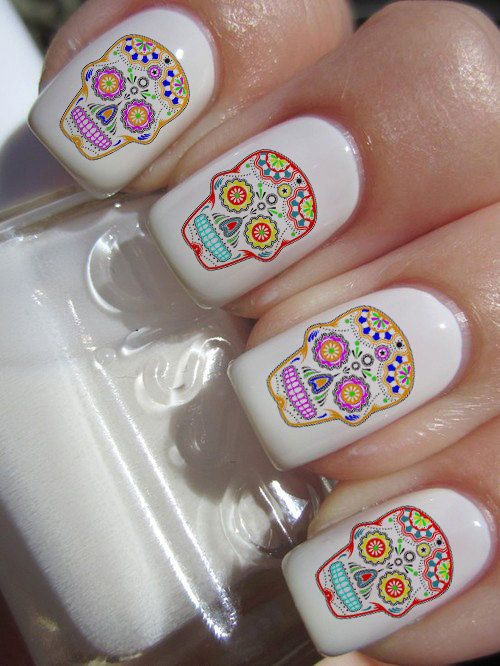 Sugar Skull Nail Decals 36 Ct. via Etsy