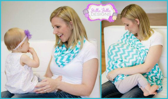 Ready to Ship Hold Me Close Nursing Scarf - Aqua Chevron, Nursing Cover, Infinity Scarf on Etsy, Sold