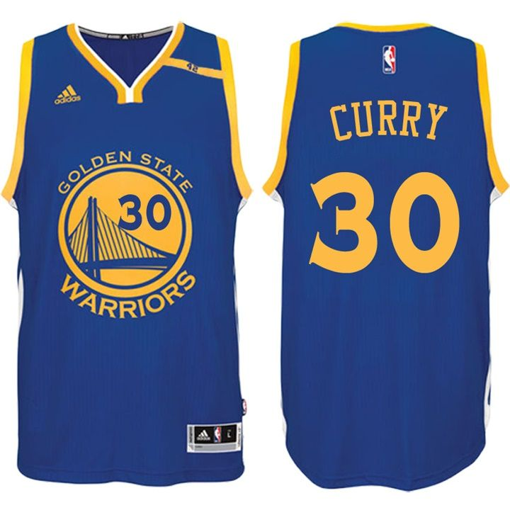 Warriors #30 Stephen Curry Road Blue 70th Anniversary 42 Patch Jersey