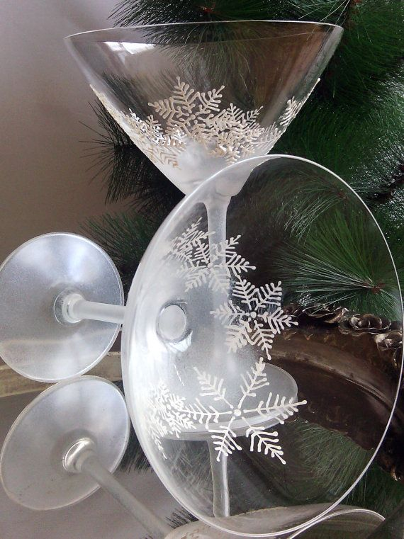 Crystal set of 2 hand painted martini glasses with tender snowflakes in pearly white and white frost effect on the stem. Authors design.