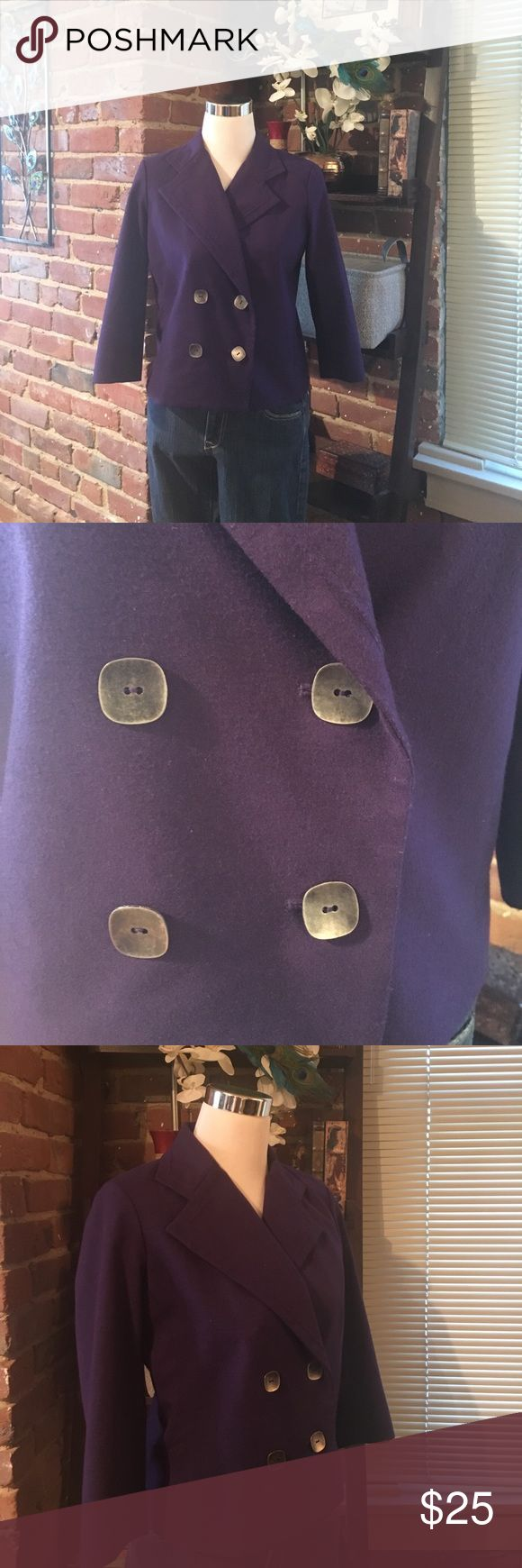 "Purple Blazer with ""Pewter"" Buttons Purple blazer with ""pewter"" buttons, labeled small but fits medium as well, shorter cut. EUC  💜💜💜💜💜💜  #prayingforharper ⚡️⚡️ (I BUNDLE WITH @harperchic - 2 closets to bundle, 1 shipping charge!)    💜💜 💜💜💜💜💜💜 Feel free to make an offer unless the item is under $10. Anything under $10 must be bundled for an additional discount. All offers above $10 will either be accepted or I will counter with my lowest :) New York & Company Jackets & Coats…"