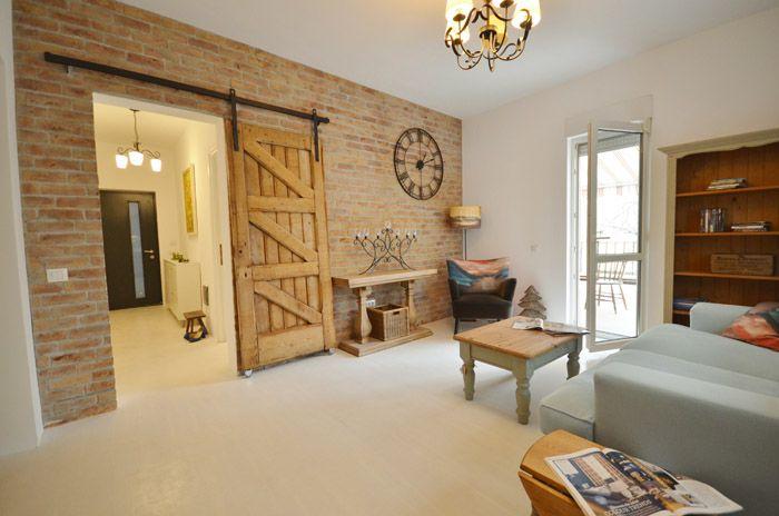 wooden door, sliding door, old apartment, renovated