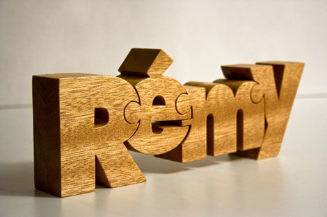 Wooden Typographic Name Puzzles: Otherwise known as Nuzzles. These are stunning.