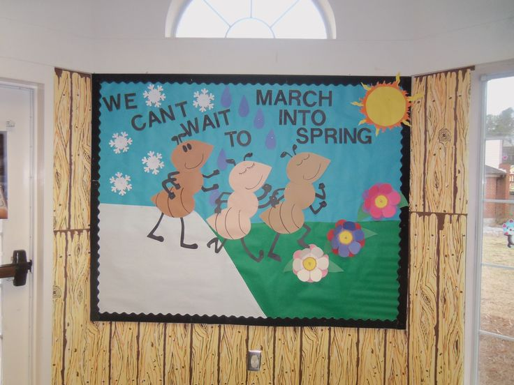 U0026quot We Can U0026 39 T Wait To March Into Spring U0026quot  Bulletin Board
