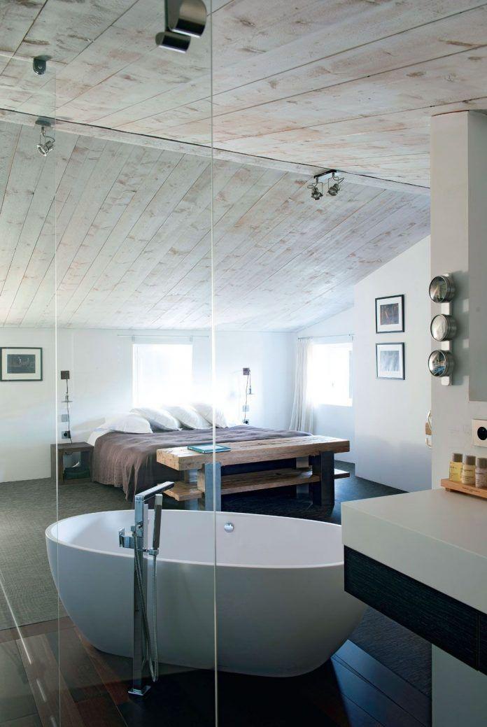 Combles Amenages En Suite Parentale Design Salle De Bain Minimaliste Salle De Bains Minimaliste Chambre Sous Combles