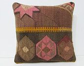 coral red decorative pillow 18x18 brown throw pillow kilim pillow decorative throw pillow bohemian pillow case decorative kilim pillow 27064
