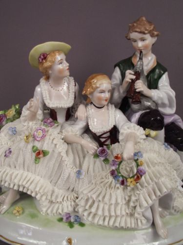 Lg Antique Unterweissbach German Porcelain Dresden Lace Lady Girl Group Figurine