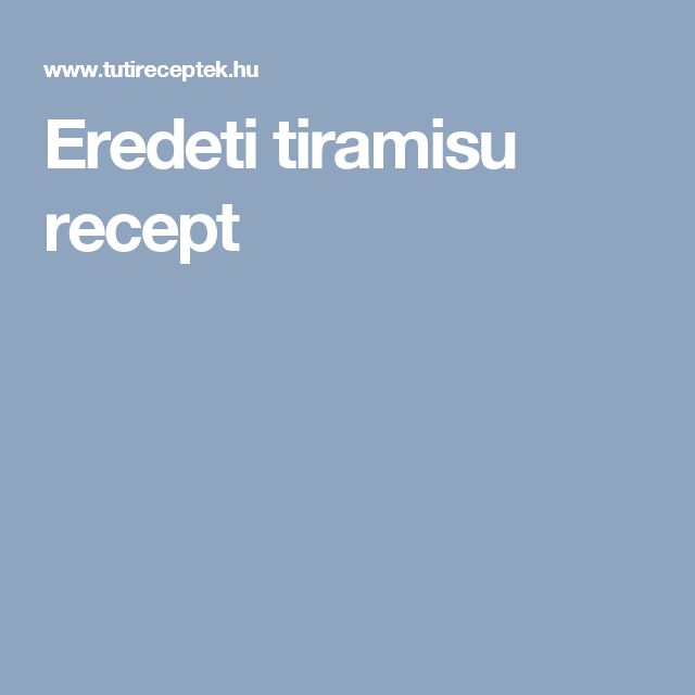 Eredeti tiramisu recept