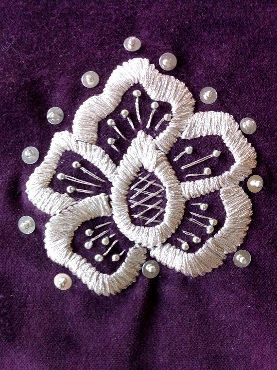 Crotian folk art, tradition handmade, Gold embroidery technique (zlatovez), unique souvenir, silver ornament on purple velvet