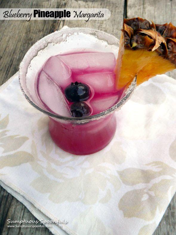 Blueberry Pineapple Margaritas ~ Sumptuous Spoonfuls #margarita #cocktail #recipe