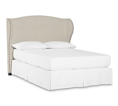 Raleigh Upholstered Queen Wingback Headboard with Bronze Nailheads, Polyester Wrapped Cushions, Textured Basketweave Flax