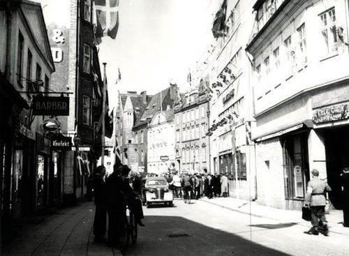 Menneskeforsamling ved Danmarks befrielse i maj 1945.