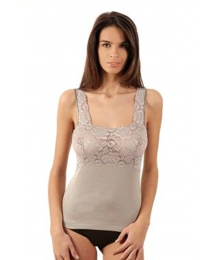 Vajolet - Top in Scottish cotton and lace