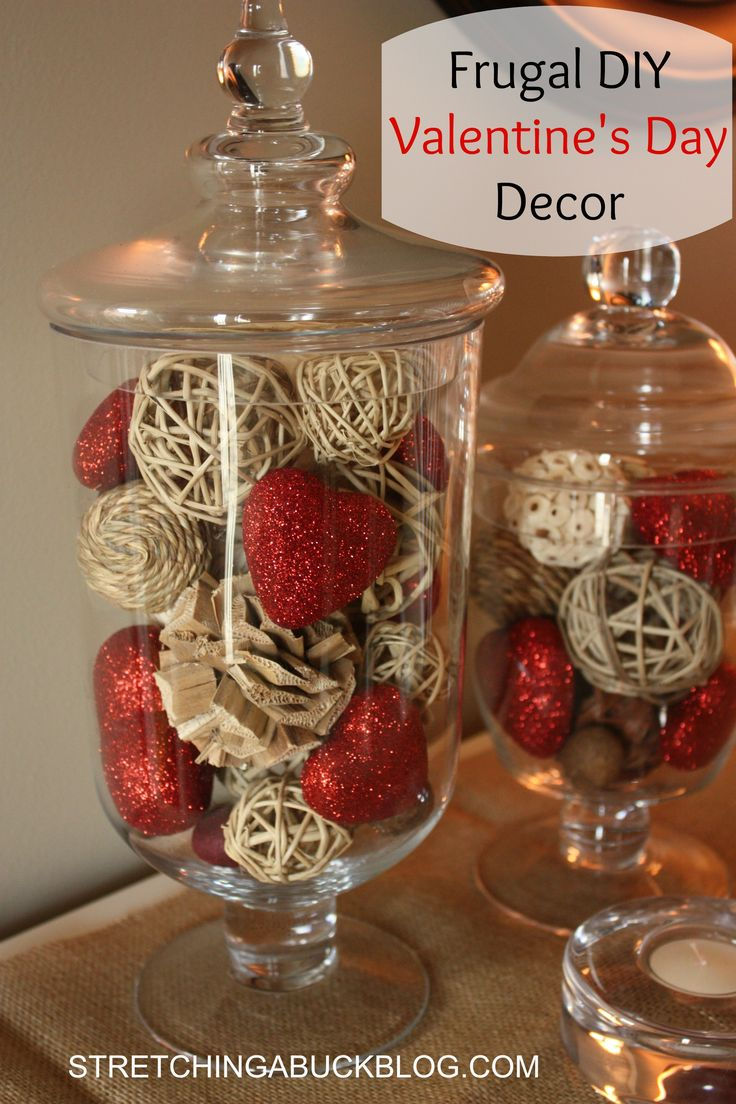 Easy Valentines Day Décor - apothecary jars, Target Threshold natural vase filler and sparkly red hearts from Hobby Lobby