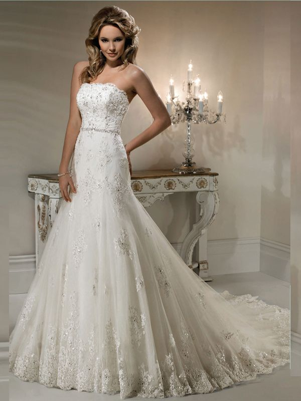 A-line Strapless Court Train Tulle Wedding Dresses #AUSA0254598