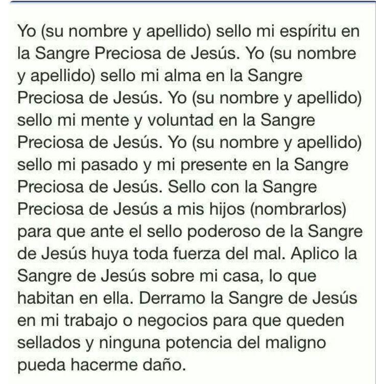 Oración a la Sangre de Cristo!