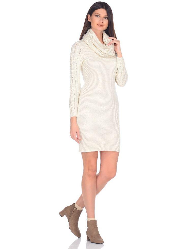 WD-27115 платье со снудом, цвет бежевый. Dress knitting msls
