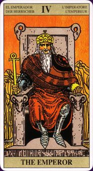 The Emperor from the Centenary Rider-Waite Tarot, classic imagery and symbolism