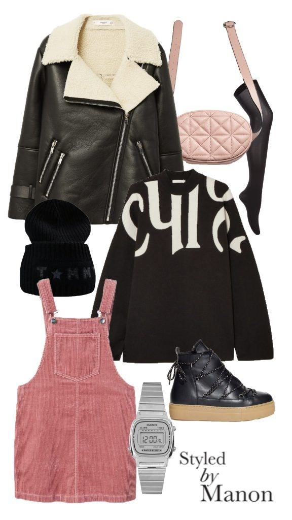 lammy coat, big sweater, pink corduroy, how to style pink - Outfit Styled by Manon #whattowear