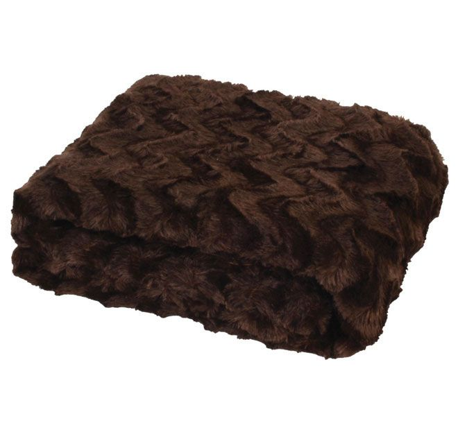 Paxton and Wiggin Chevron Fur 127x152cm Throw Chocolate