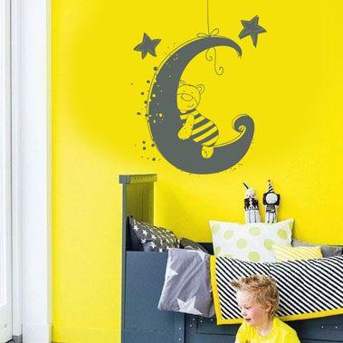 Sticker chambre de bébé - Sticker ourson sur une lune