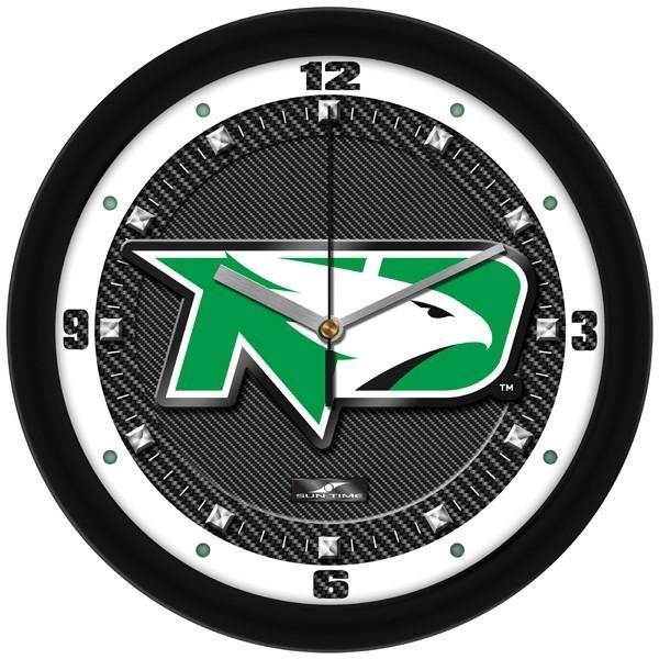 New - North Dakota Fighting Hawks-Carbon Fiber Textured Wall Clock