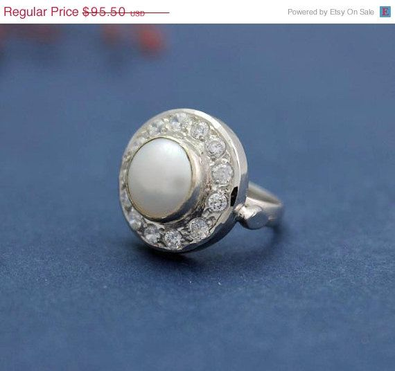 SALE Pearl ring - Wedding ring - Anniversary ring - Engagement ring - Cz ring - Birthstone ring - Gifts on Etsy, $85.95