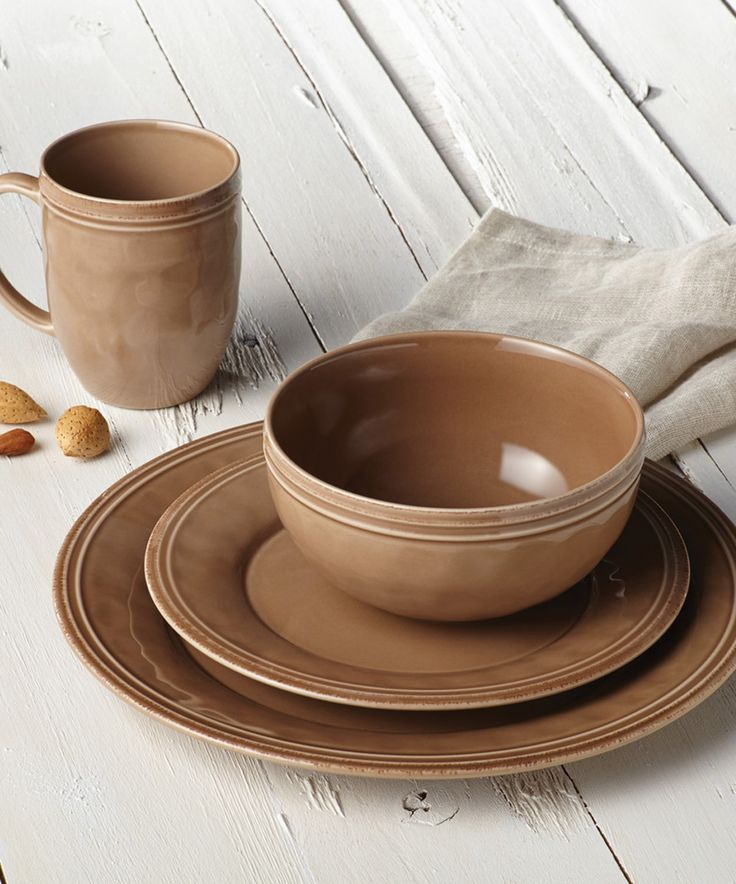 Another great find on #zulily! Rachael Ray Mushroom Brown 16-Piece Dinnerware Set by Rachael Ray #zulilyfinds