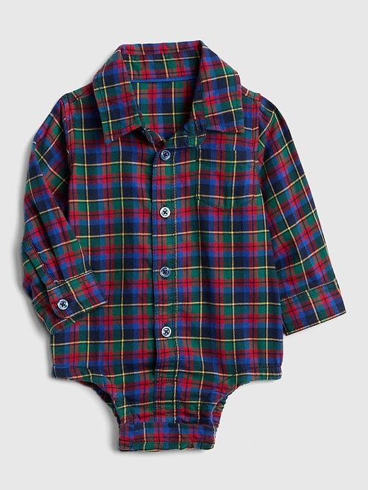 c3a1ba350 Gap Baby Plaid Long Sleeve Bodysuit Dark Night | Products | Baby boy ...