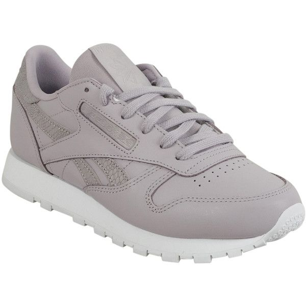 Reebok Classic Leather Pastel Women's Running Sneaker ($80) ❤ liked on Polyvore featuring shoes, sneakers, lavender, leather trainers, reebok footwear, light purple shoes, pastel shoes and leather shoes