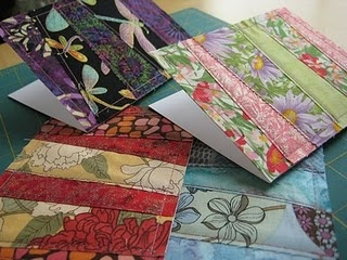 Fabric greeting cards - #tutorial #crafts fabric strips sewn onto card stock