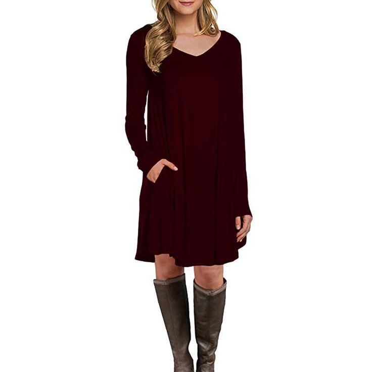 womens long sleeve pocket casual loose t shirt dress