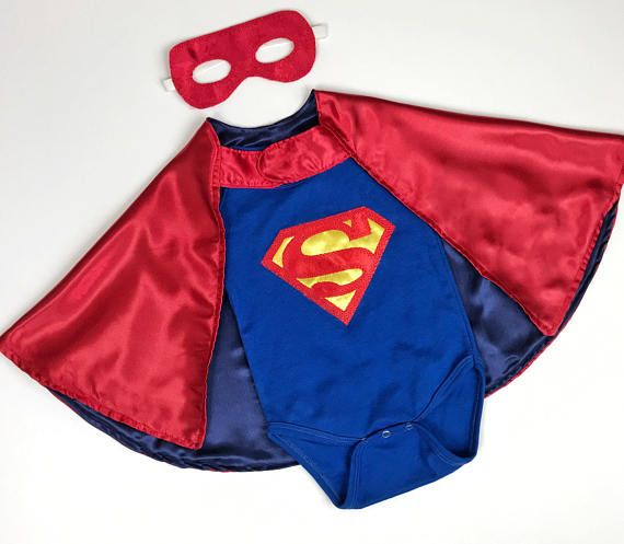 Short-Sleeve Blue Superman Baby Onesie and Red Cape and Mask