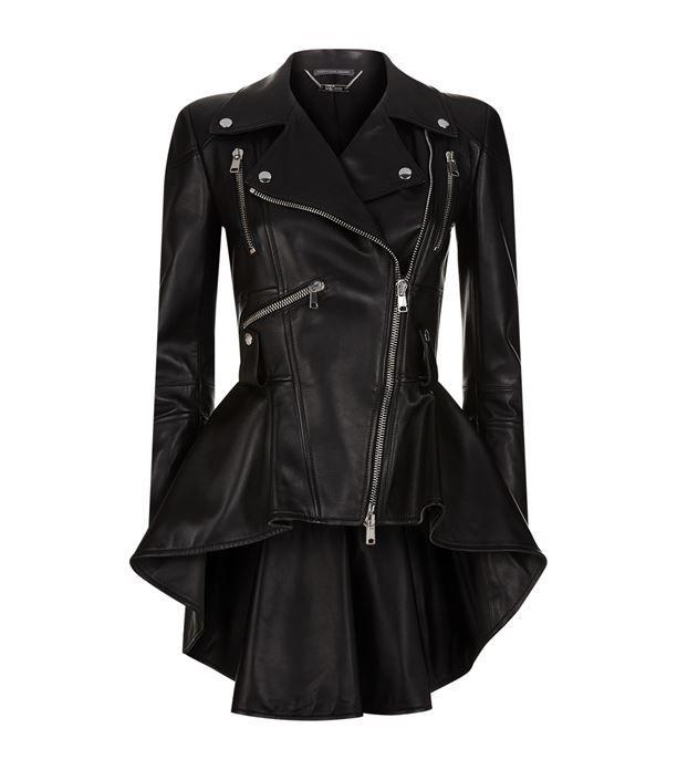 Women: Jackets Alexander McQueen Leather Peplum Jacket
