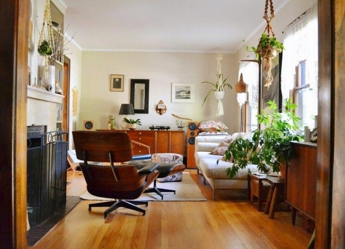 Inneneinrichtung Wohnzimmer Pflanzen Hellgelbe Wände