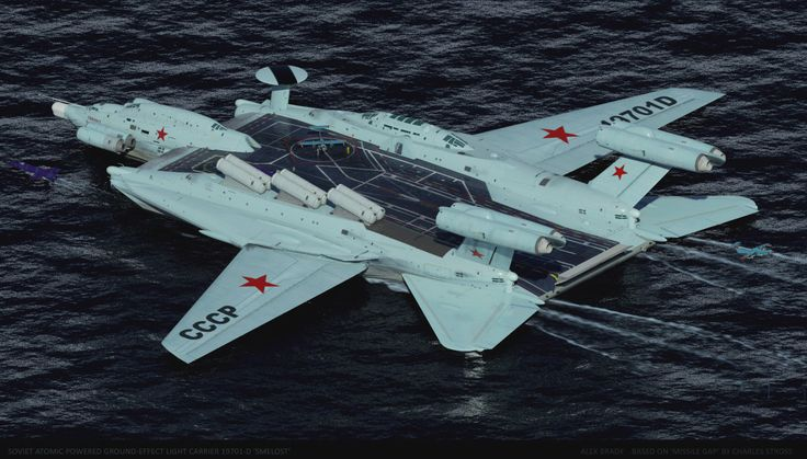"""concept ships: Soviet Atomic Powered Ground-effect Light Carrier 19701 """"SMELOST"""" by Alex Brady"""