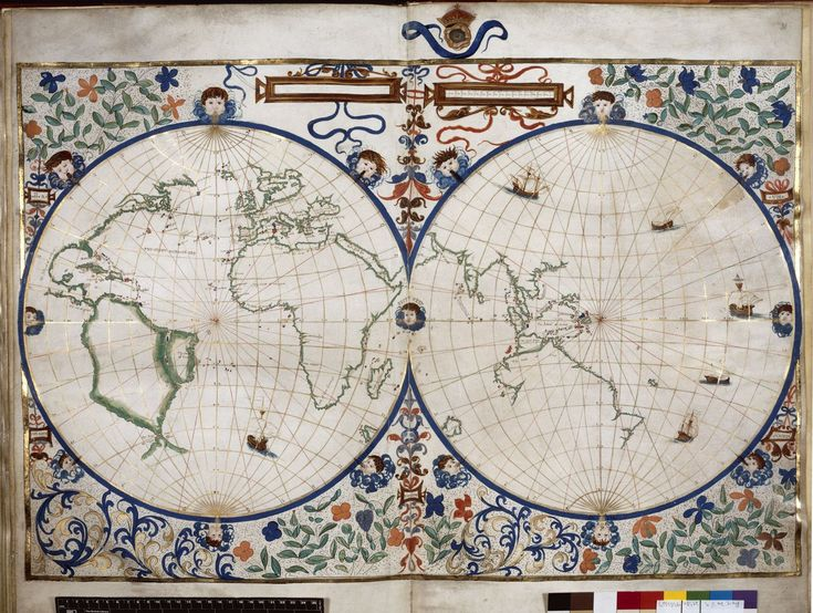 Map of the world from BL Royal 20 E IX, ff. 29v-30 | Jean Rotz | 1542 | The British Library | Public Domain Marked