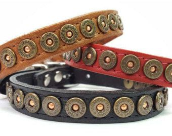 Colliers de chien en cuir sur mesure | Coquille de fusil de chasse parsemée de petits colliers de chien | Chat colliers en cuir | Collier Chihuahua | Western | Laisse disponible