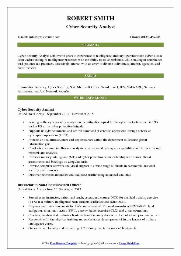 Entry Level Cyber Security Resume With No Experience Inspirational Cyber Security Analyst Resum Teacher Resume Examples Business Analyst Resume Resume Examples