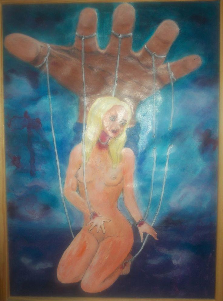 """""""Libérate, marioneta del deseo"""" obra por los derechos de la mujer.  Acrílico sobre papel"""