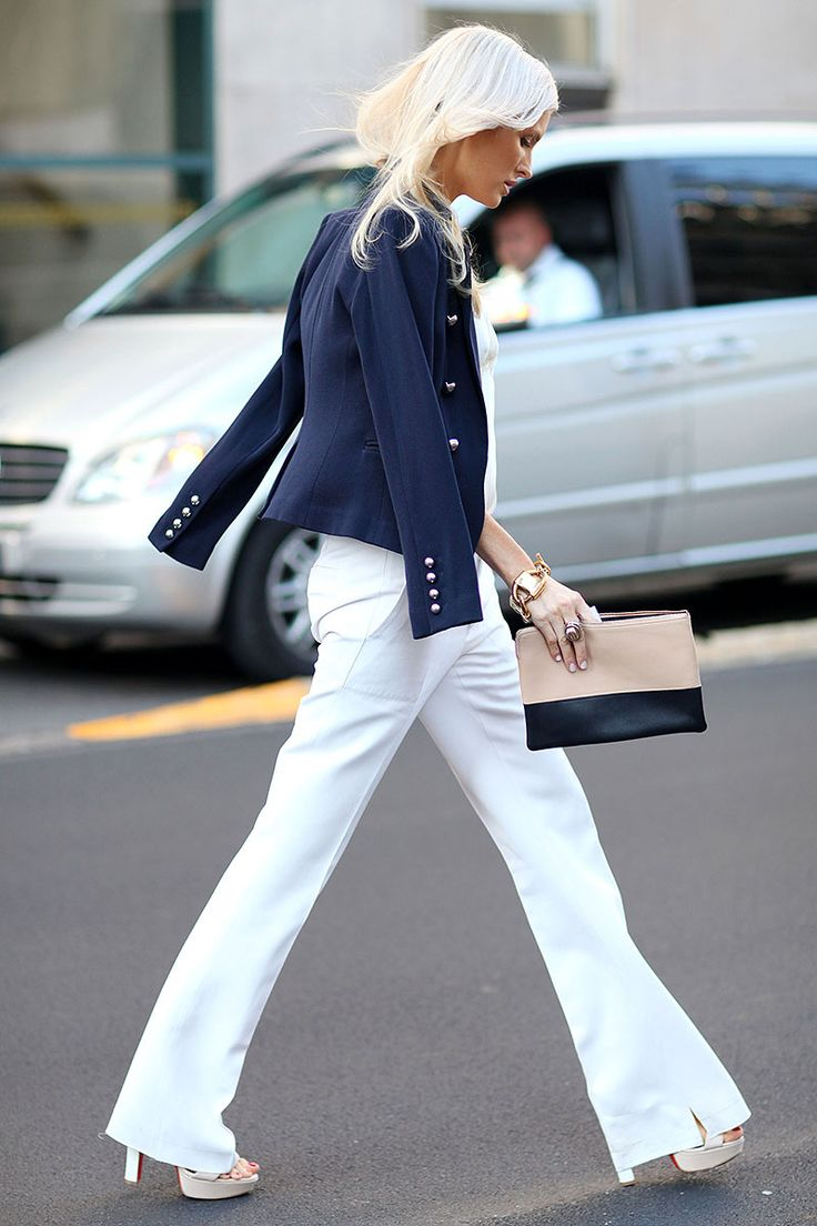 white pants and blue blazer